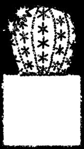 サボテンイラスト白黒