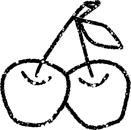 さくらんぼイラスト白黒