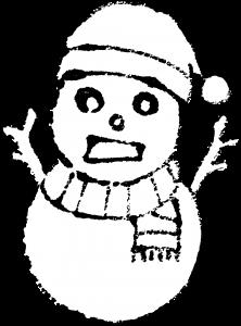 雪だるまイラスト白黒無料