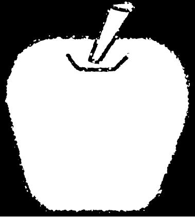 かわいいリンゴイラスト無料素材白黒