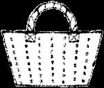 かごバッグイラスト白黒無料素材