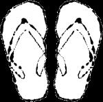 ビーチサンダルイラスト白黒無料素材