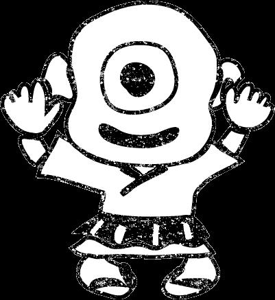 一つ目小僧イラスト白黒無料