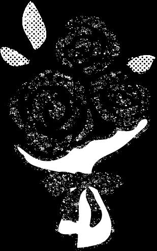 かわいい花束イラスト白黒無料素材