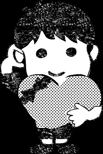 かわいいバレンタインデー白黒イラスト無料素材
