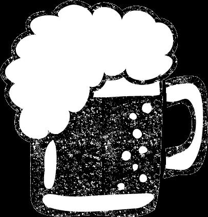 かわいいビールイラスト白黒無料素材
