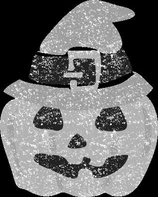 ハロウィンカボチャ白黒イラスト
