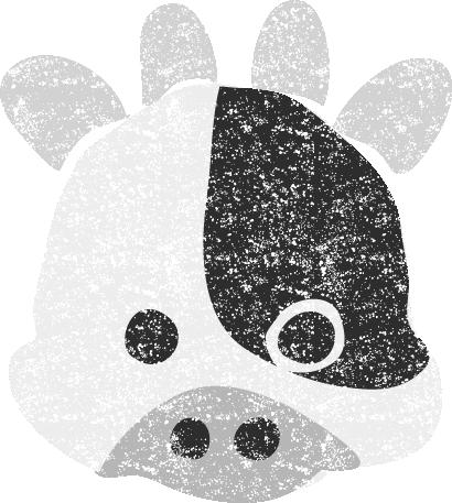 干支牛丑イラスト白黒無料素材