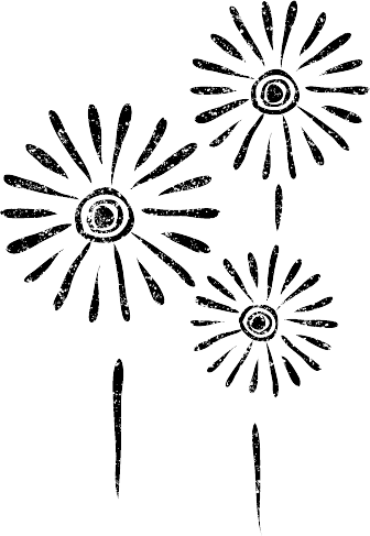 かわいい花火イラスト白黒無料素材