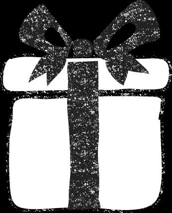 かわいいプレゼントボックス箱イラスト白黒無料素材