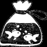 かわいいビニール袋金魚イラスト白黒無料