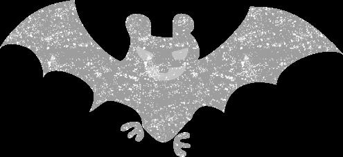 ハロウィンコウモリイラスト白黒