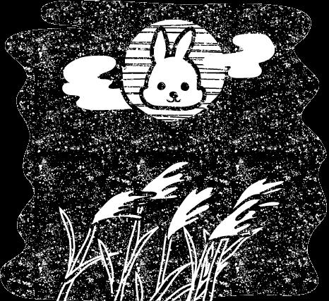 かわいいお月見十五夜うさぎ無料イラスト白黒