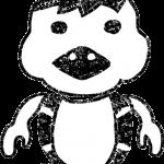 河童(かっぱ)イラスト白黒無料素材