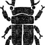 クワガタイラスト白黒無料素材