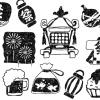 夏祭りイラスト白黒無料素材