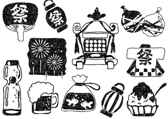 かわいい夏祭りイラスト白黒無料素材