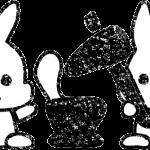 かわいいお月見十五夜餅つきうさぎ白黒無料イラスト