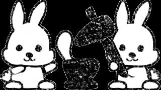 お月見十五夜餅つきうさぎ白黒イラスト