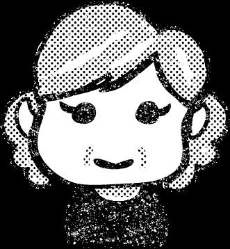 かわいいおばあさんイラスト白黒無料素材