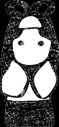 かわいい七夕織姫彦星イラスト白黒無料素材