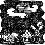 かわいいお月見十五夜の風景白黒イラスト