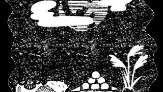 お月見十五夜の風景白黒イラスト