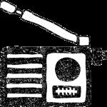 かわいいラジオイラスト白黒無料素材