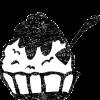 かわいいかき氷イラスト白黒無料素材