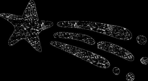 かわいい流れ星イラスト白黒無料素材