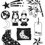 かわいい七夕イラスト白黒無料素材