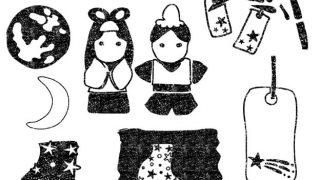 七夕イラスト白黒無料素材