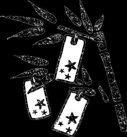 かわいい七夕飾り笹の葉短冊白黒イラスト無料素材