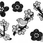 おしゃれかわいい梅の花イラスト白黒無料素材