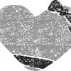 ハートリボンイラスト白黒無料素材