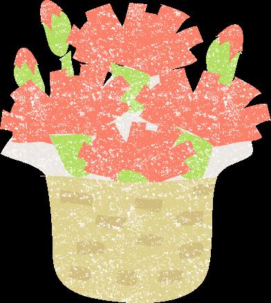 かわいいカーネーション鉢植えイラスト無料素材