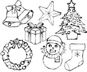かわいいクリスマス白黒イラスト無料素材