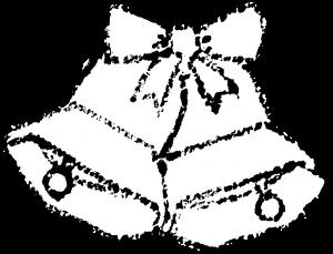 かわいいクリスマスベルイラスト無料素材白黒