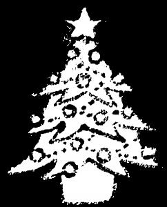かわいいクリスマスツリーイラスト白黒無料素材