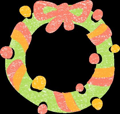 おしゃれかわいいクリスマスリースイラスト無料素材