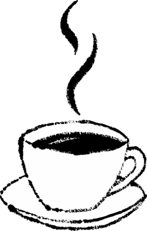 かわいいカップソーサーコーヒー無料イラスト白黒