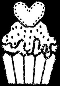 かわいいカップケーキイラスト無料素材白黒