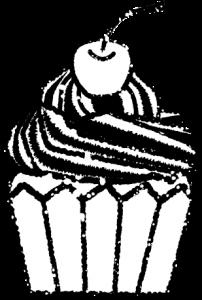 かわいいカップケーキイラスト無料素材3白黒
