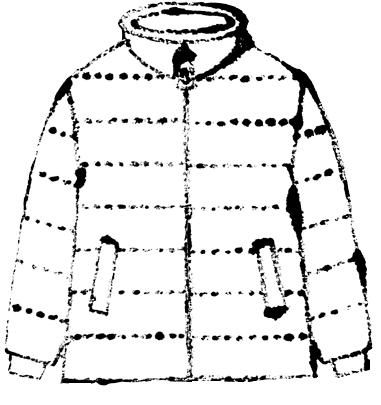 ダウンジャケットイラスト白黒無料素材
