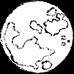 かわいい満月イラスト無料素材白黒