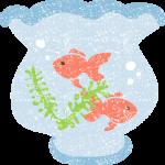 かわいい金魚鉢イラスト無料素材