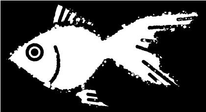 かわいい金魚イラスト無料素材白黒
