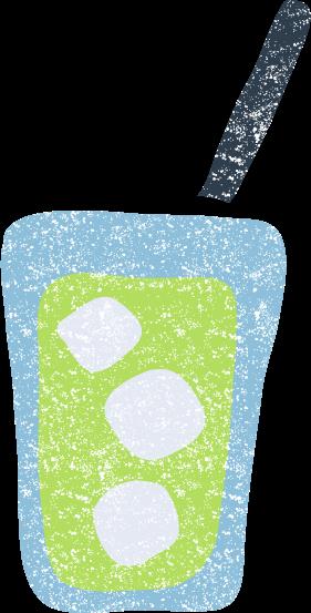 かわいいメロンソーダ抹茶ラテキウイジュースイラスト無料素材