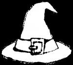かわいいハロウィン帽子イラスト無料素材白黒