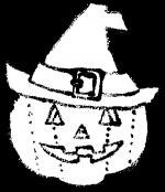 かわいいハロウィン帽子カボチャイラスト無料素材白黒